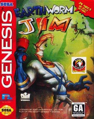 Earthworm Jim Sega Genesis front cover