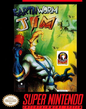 Earthworm Jim SNES front cover
