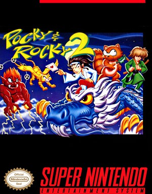 Pocky & Rocky 2 SNES front cover