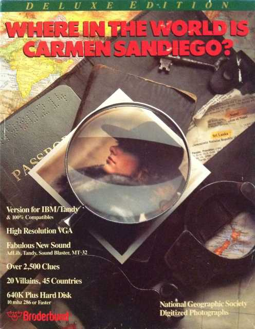 Where in the World is Carmen Sandiego? (Deluxe) (CD-ROM) DOS front cover