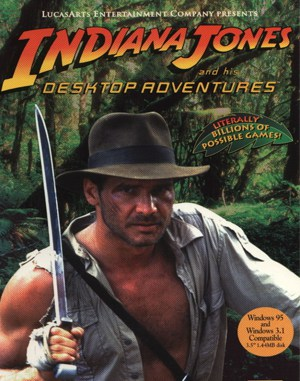 Indiana Jones and his Desktop Adventures DOS front cover