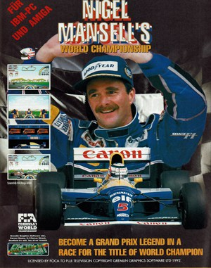 Nigel Mansell's World Championship Racing DOS front cover